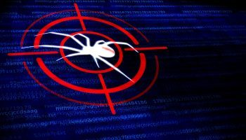 Digital malware concept – Black widow spider in the crosshairs
